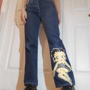 Betty Boop dark wash high rise flared jeans